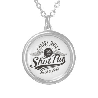 shot put wings silver plated necklace