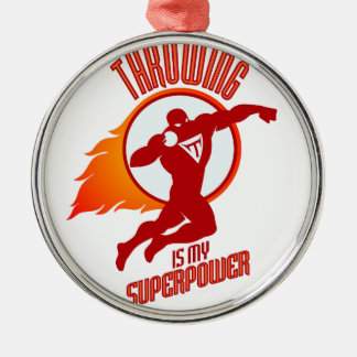 shot putting is my superpower metal ornament