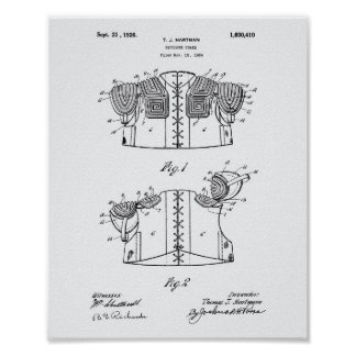 Shoulder Guard 1926 Patent Art White Paper Poster