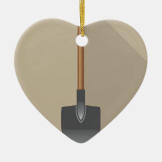 Shovel Vector Illustration Ceramic Heart Decoration