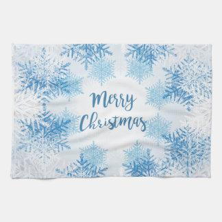 SHOW FLAKES PATTERN Merry Christmas Tea Towel