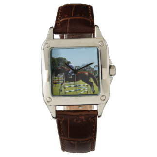 Show_Jumping_Horse_Square_Brown_Leather_Watch Watch