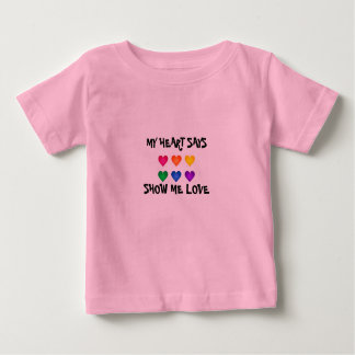 SHOW ME LOVE HEARTS BABY FINE PINK T-SHIRT