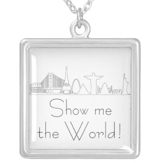 Show me the world, travel, monuments, 8 wonders silver plated necklace