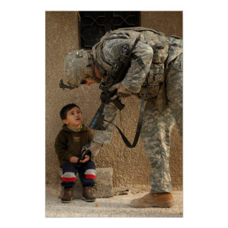 Show Me Where It Hurts Military Soldier and Child Poster