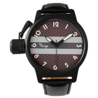 "Show protect-crown, black leather, ""Black Rubis "" Wrist Watches"