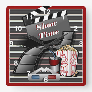Show Time Movie Theater Square Wall Clock