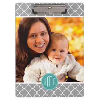 Showcase Your Photo Gray Quatrefoil Mint Monogram Clipboard