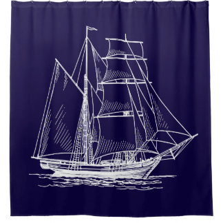 Shower curtain Blue sail boat ship nautical