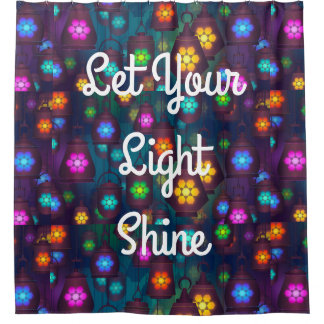Shower Curtain Colourful Lights Hanging Lanterns