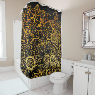 Shower Curtain Floral Doodle Gold G523