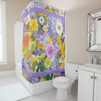 Shower Curtain - Flowers and Butterflies