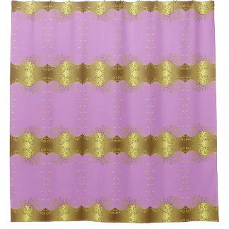 Shower Curtain--Gold Swirls & Pink Shower Curtain