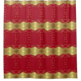 Shower Curtain--Gold Swirls & Red Shower Curtain