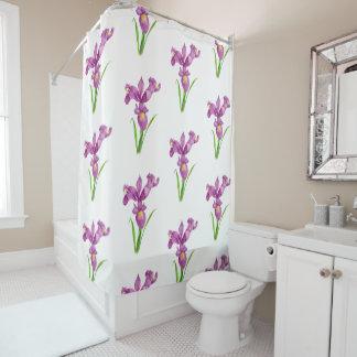 Shower Curtain Purple Iris Floral Flower Art