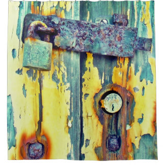 Shower curtain Rusty aqua painted barn door lock