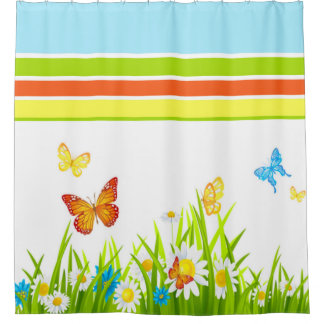 Shower Curtain/Spring Butterflies and Flowers Shower Curtain