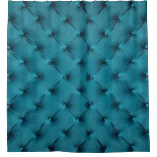 Shower Curtain with print of teal, blue capitone