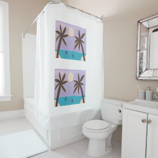 Shower Curtain with Silhouetted Palm Trees