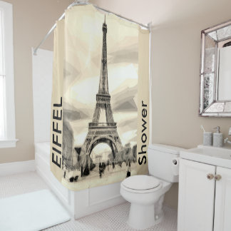 Shower Eiffel Tower Paris France Shower Curtain