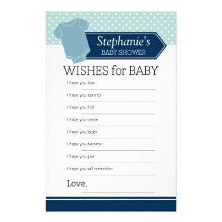 Shower Game Wishes for Baby Boy  - Pastel Blue Tee Stationery