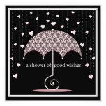 Shower of Hearts Pink Black Damask Bridal Shower 13 Cm X 13 Cm Square Invitation Card