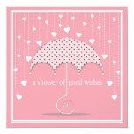 Shower of Hearts Pink Bridal Shower Invitation