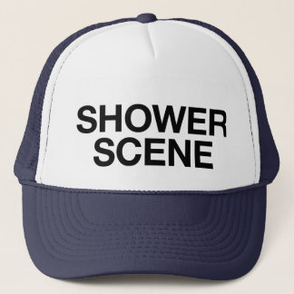 SHOWER SCENE fun slogan trucker hat