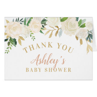 Shower Thank You Cards | Neutral Watercolor Blooms