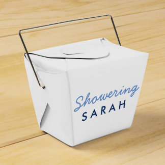 Showering the Mom-To-Be Tent Favor Box- White Blue Favour Box