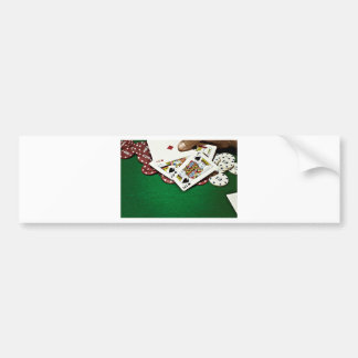 Showing cards green table poker bumper sticker