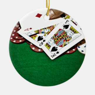 Showing cards green table poker ceramic ornament