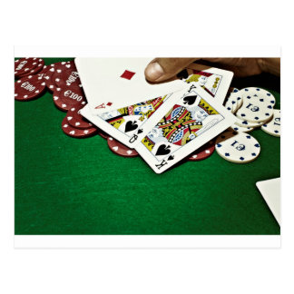 Showing cards green table poker postcard