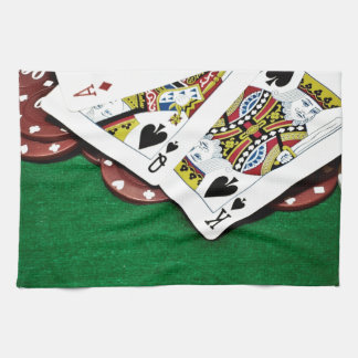 Showing cards green table poker tea towels