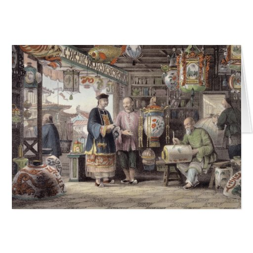 Showroom of a Lantern Merchant in Peking, from 'Ch Greeting Card