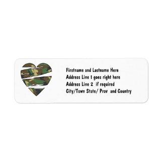Shredded Camo Heart Return Address Label
