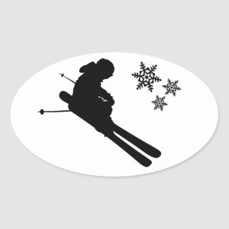 Shredding Skier Oval Sticker