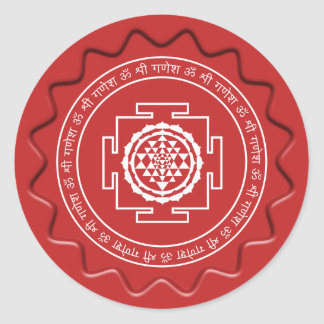 Shree Yantra Red Wax Seal Round Sticker