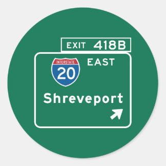 Shreveport, LA Road Sign Classic Round Sticker