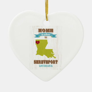 Shreveport, Louisiana Map – Home Is Where The Hear Ceramic Ornament