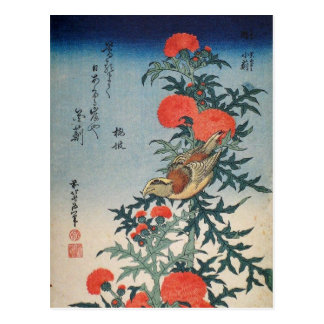 Shrike and Thistle (by Hokusai) Postcard