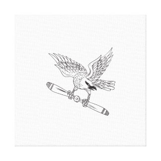 Shrike Clutching Propeller Blade Black and White D Canvas Print