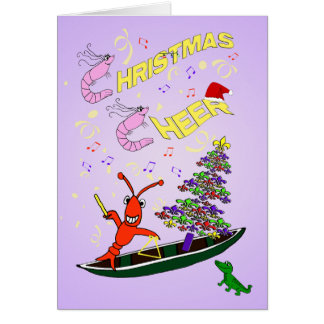 Shrimp and Crawfish Cajun Christmas Cheer Card