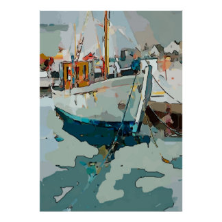 Shrimp Boat, abstract Poster