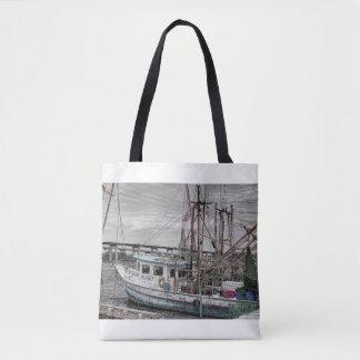 Shrimp Boat At Harbor Tote Bag