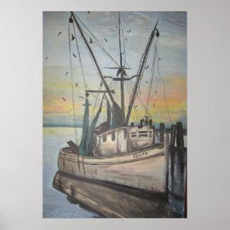 shrimp boat by Nancy Hellams Poster