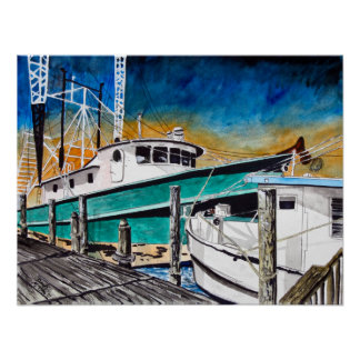 shrimp boat nautical marine art poster
