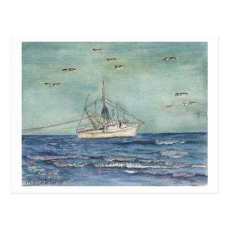 Shrimp Boat Watercolor. Postcard. Postcard