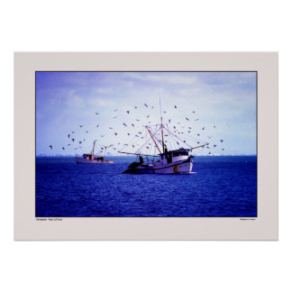 Shrimp Boats Texas Gulf Poster