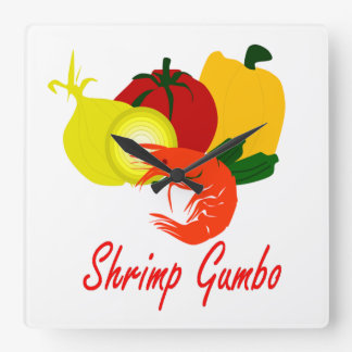 Shrimp Gumbo Square Wall Clock